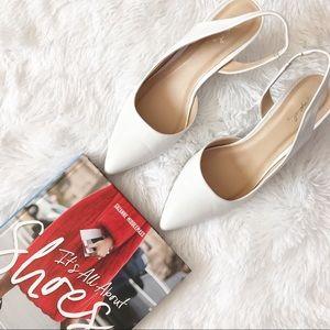 Qupid white sling back kitten heels sandals